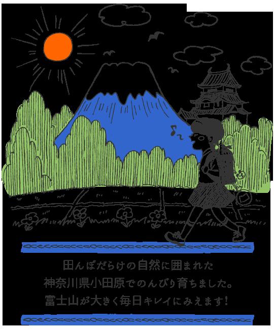 田んぼだらけの自然に囲まれた神奈川県小田原でのんびり育ちました。富士山が大きく毎日キレイにみえます!